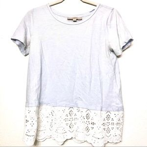 Ann Taylor LOFT Blue and white eyelet top Size S